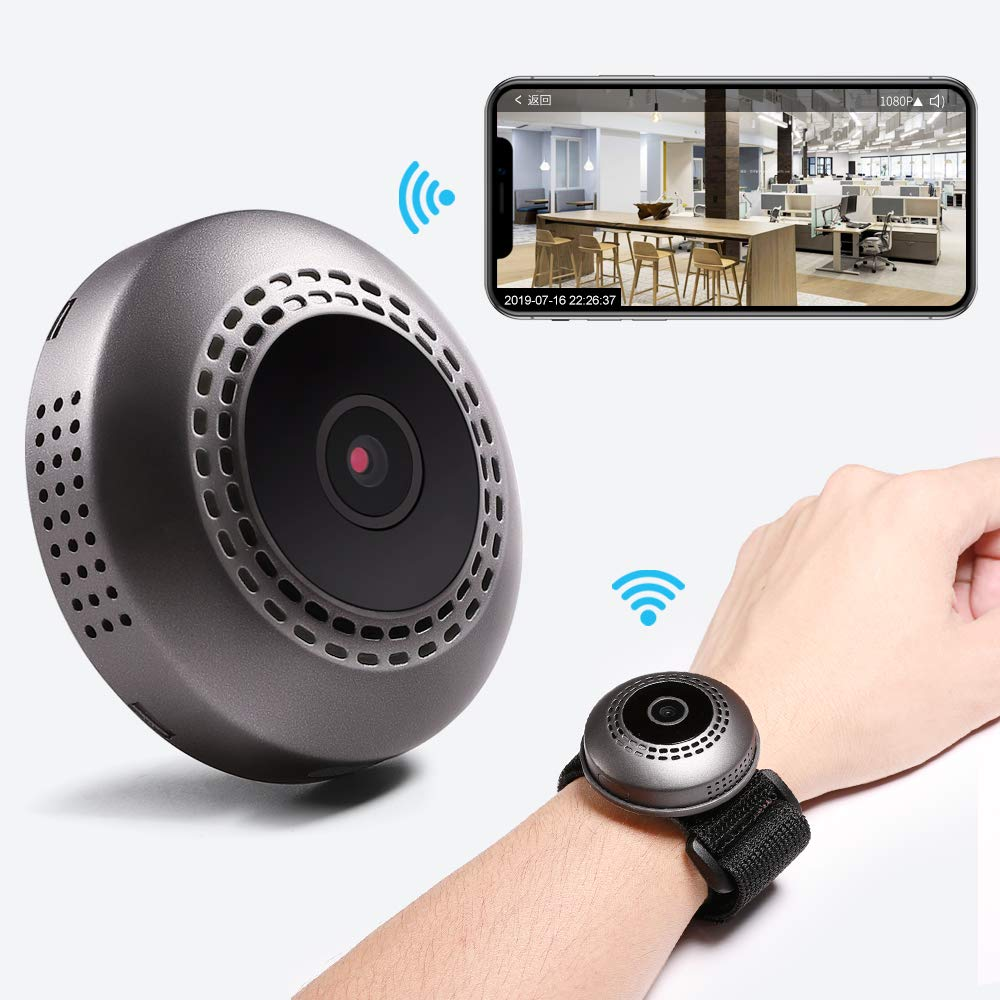 Mini Spy Camera Wireless Hidden Home Security Wi-Fi Camera CARIPORT HD 1080P Portable Night Vision Motion Detection Car Video Recorder Nanny Cam Tiny Office Outdoor Wrist Cop Camera with App