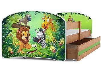 Interbeds Cama Individual LUKI - Aliso,160X80, con cajón, somier y colchón de Espuma Gratis! (Jungle): Amazon.es: Hogar