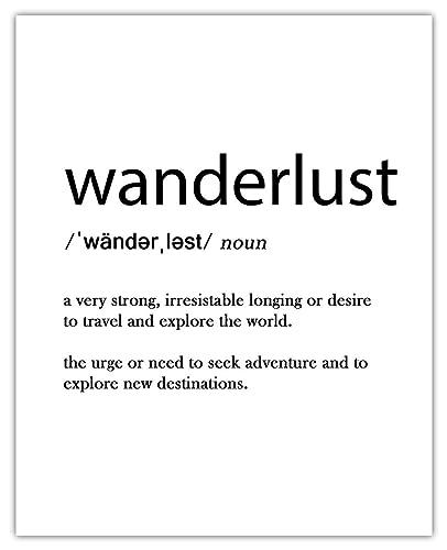 Wanderlust Definition Monochrome wall art print Framed unframed