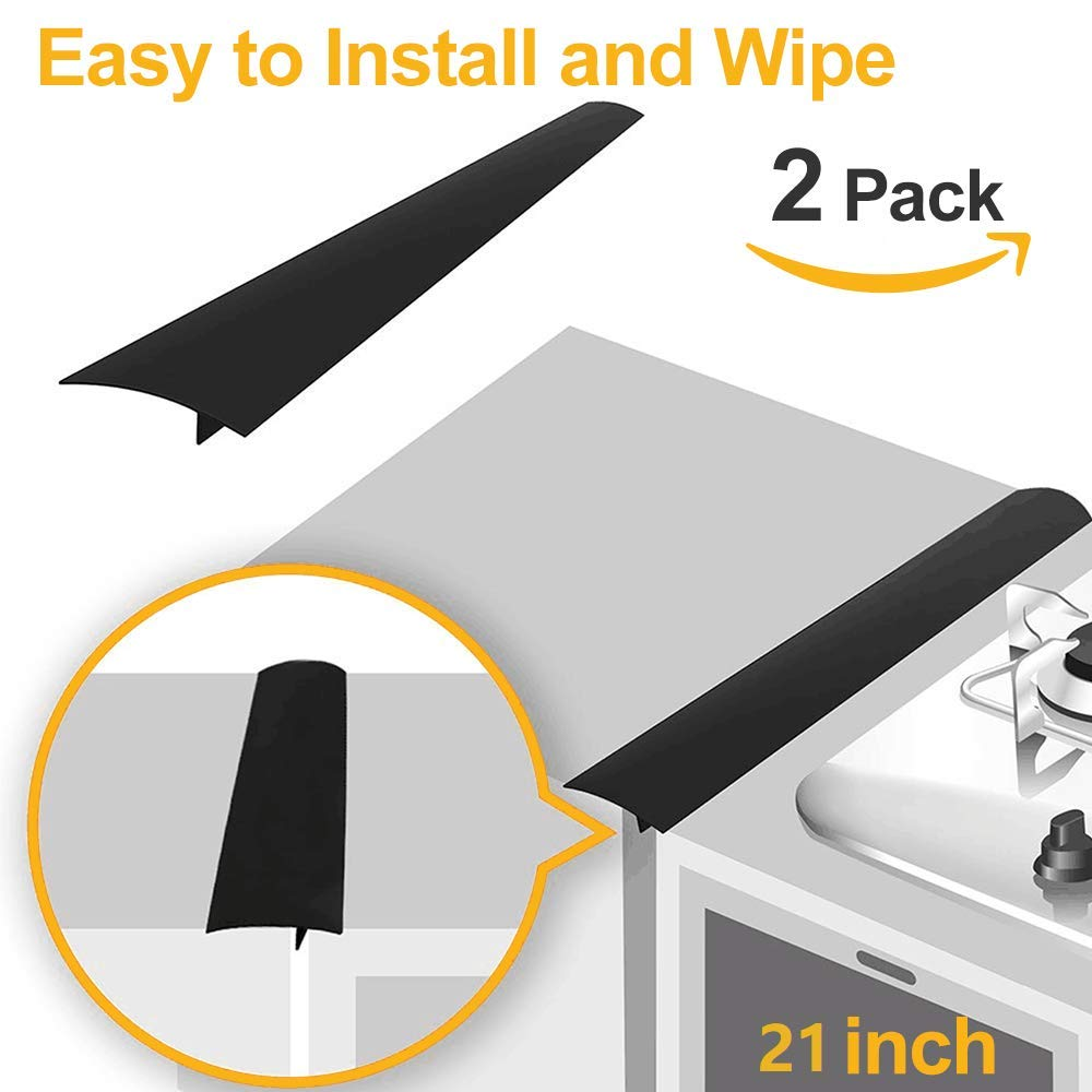 Long Silicone Gap Cover Stove Counter Gap Cover 21 inch Gap Filler for Oven Protector,Countertop Kitchen Appliances Set of 2 Black by HomeMarvel