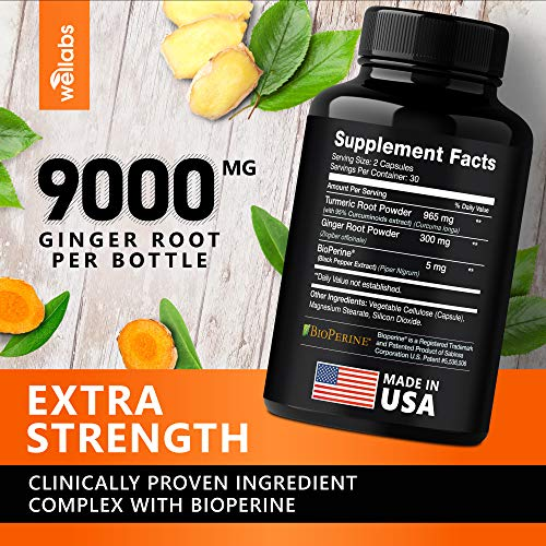 Turmeric Curcumin & Ginger Capsules - 95% Curcuminoids with BioPerine for Best Absorption - Made in USA - Occasional Joint Relief - Natural Anti-Inflammatory Supplement - Vegan & Non-GMO