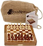"""SouvNear Chess Set - 7X7"""" Folding Standard Magnetic Travel Chess Board Game Handmade in Fine Rosewood with Storage for Chessmen"""