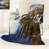 YOYI-HOME Soft Warm Cozy Throw Duplex Printed Blanket Yosemite Mirror Lake and Mountain Reflection on Water Sunset Evening View Picture Navy Brown Fuzzy Blanket s for Bed or Couch/W79 x H47