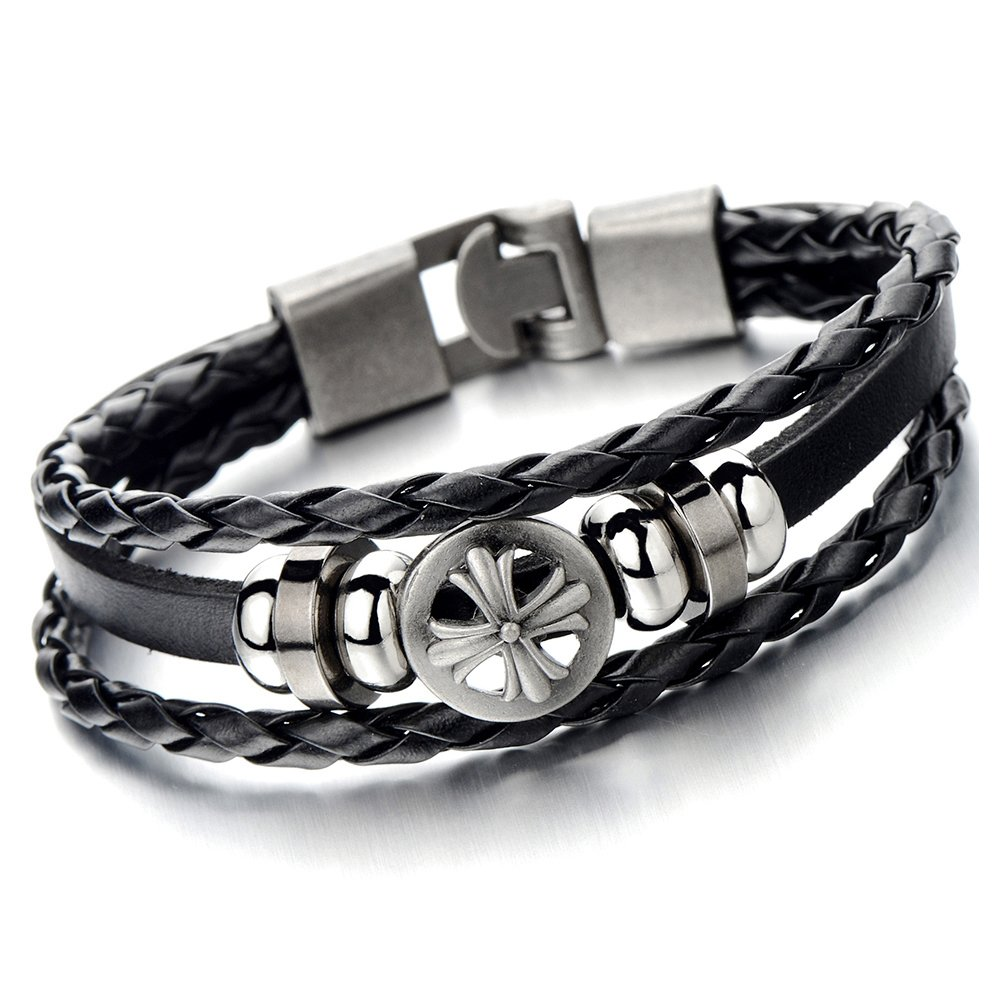 Mens Cross Black Braided Leather Bracelet Multi-strand Leather Wristband Wrap Bracelet COOLSTEELANDBEYOND MB-552-CA