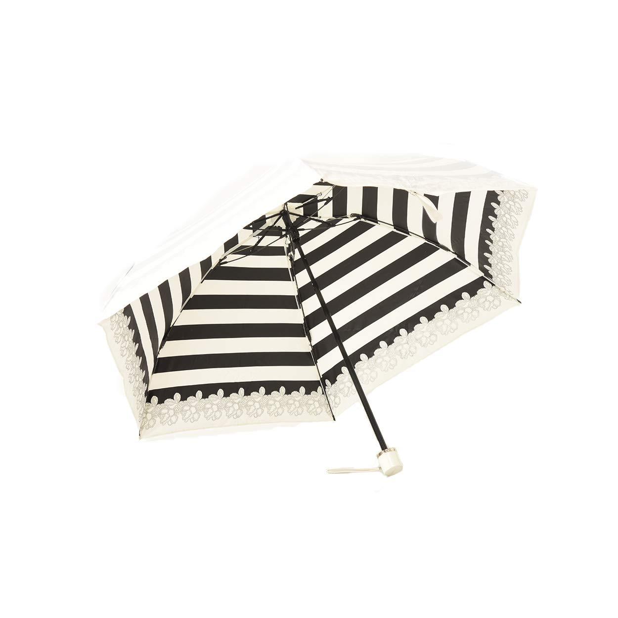 UVION (ユビオン) プレミアム ホワイト 日傘 UVカット マイナス10度 折りたたみ 傘 晴雨兼用 超軽量 50cm 花柄 ボーダー フラワー B07QBC4N3P ブラック