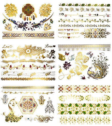 Premium Watercolor & Metallic Tattoos - 75+ Boho, Floral Henna Temporary Shimmer Jewelry Tattoos- Designs in Gold, Blue, Red, Silver, Green (Aria (Hippie Tattoo Designs)