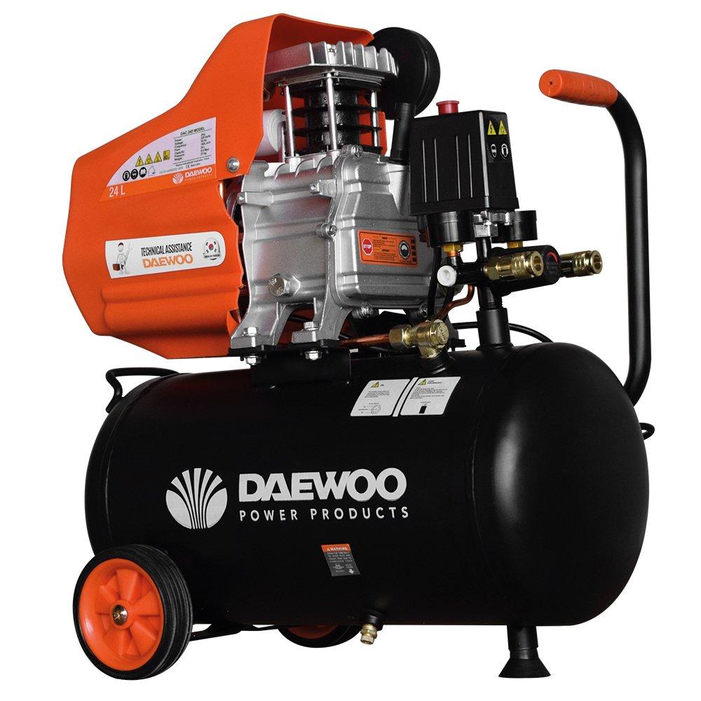 Daewoo DAC24D Compresor eléctrico, 220 V, Negro/Naranja, 2 HP, 195 L/min, 24 L