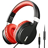 OneAudio Over Ear Headphones with Microphone and Volume Control Adjustable Lightweight Headset for Cellphone Tablets Smartphones Laptop Computer PC