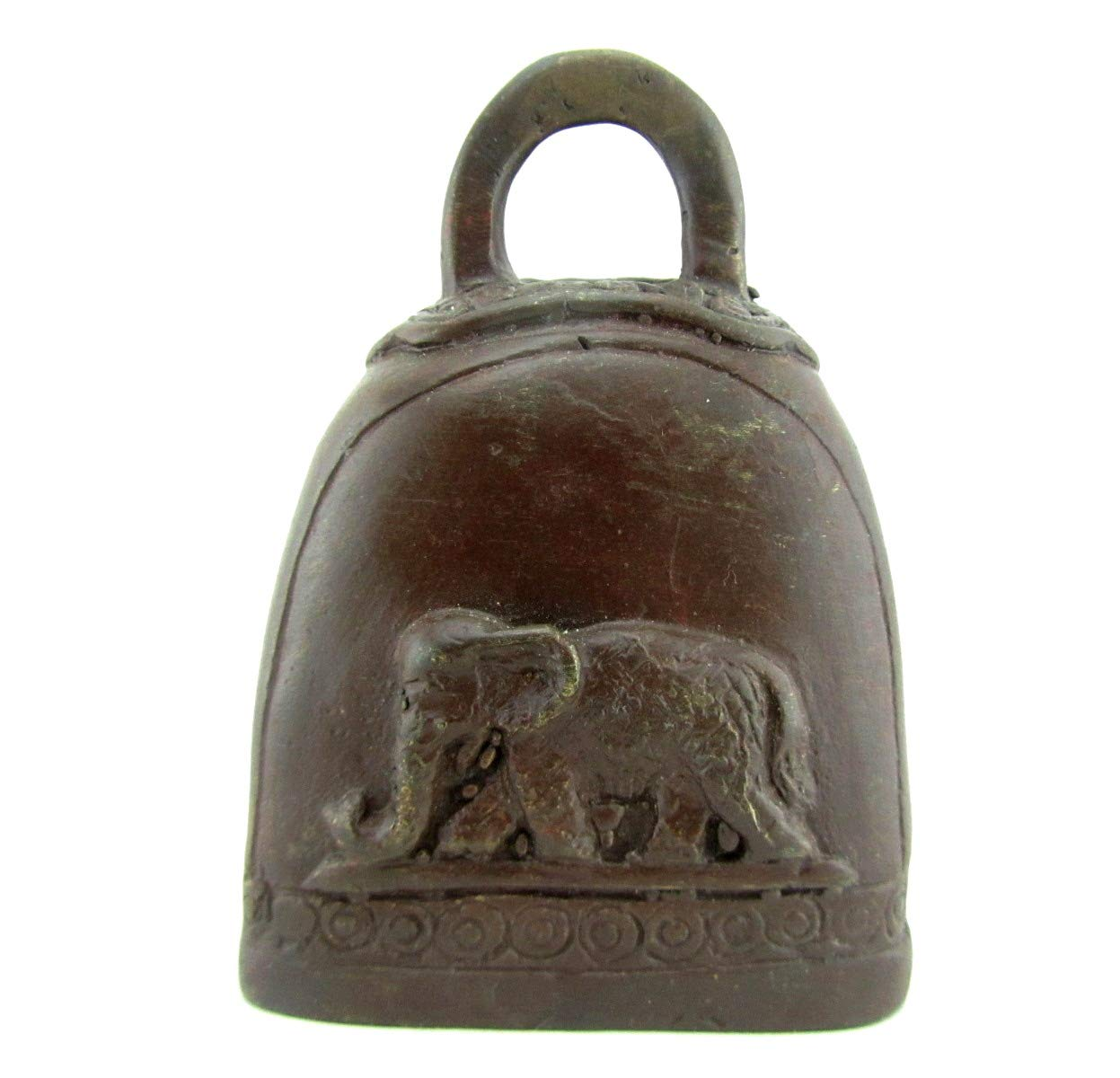 Blue Orchid Small Bronze Cow Bell Buddha Lucky Elephant Thai