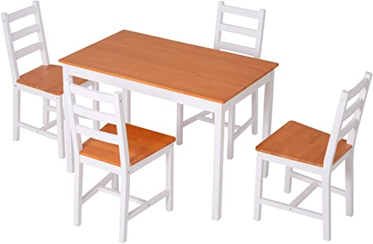 Amazon Com Homcom 5 Piece Solid Pine Wood Table And High Back Chair Dining Set White Table Chair Sets
