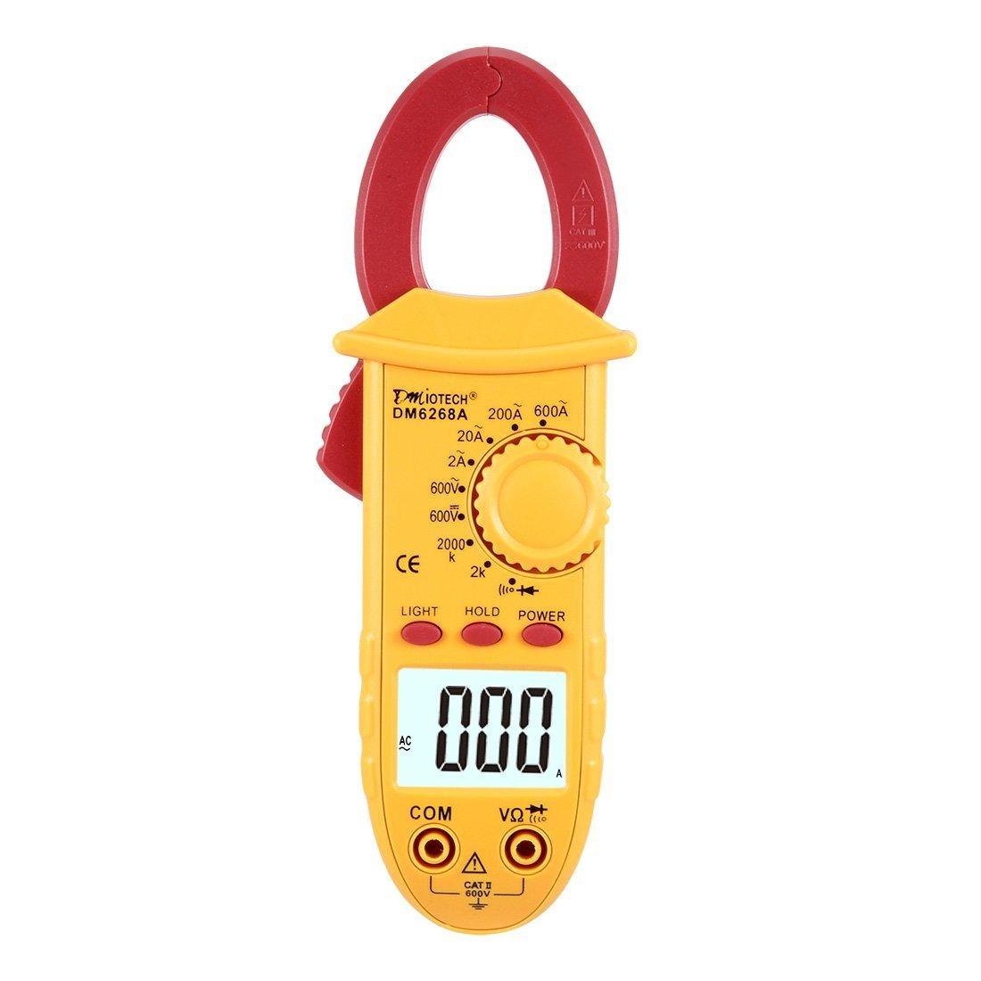 sourcingmap® Mini Digital Multimeter Ammeter Current AC/DC Voltage Ohm Resistance Clamp Meter Tester Handheld a16072000ux0139
