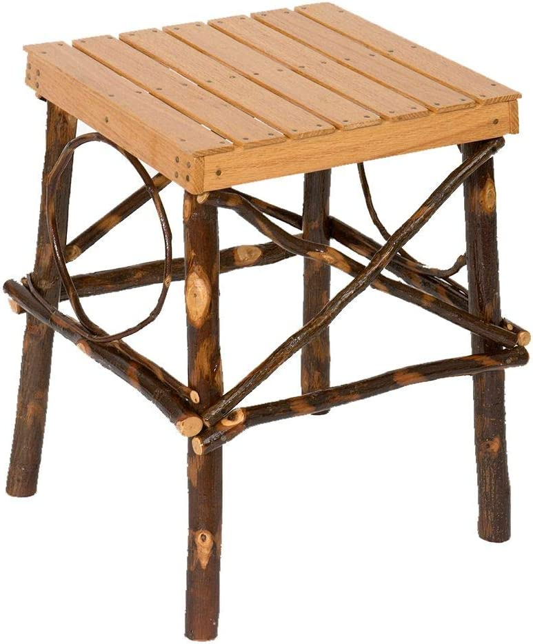Peaceful Classics Rustic Hickory End Table Square Wood End Tables Amish Furniture for Living Room Home Decor