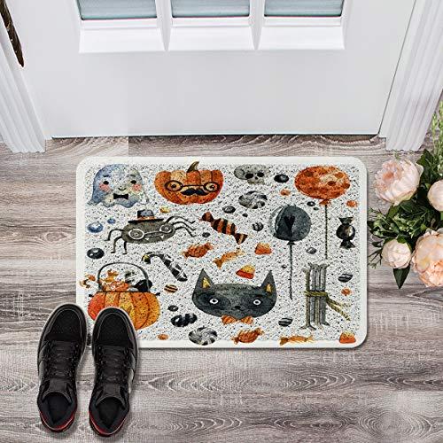 Prime Leader Soft Outdoor Indoor Doormats Absorbs Mud Carpet- Halloween Cat Pumpkin Candy and Ghost 24
