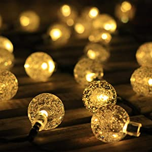 TEBOCR Solar String Lights Outdoor 20 LED Hanging 16 Feet 8 Modes Waterproof Solar Powered Globe String Fairy Lights for Patio Party Home Yard Wedding Party Christmas Holiday Decoration (Warm White)