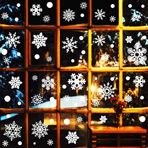 HUXICUI 180 PCS Snowflakes Window Clings Christmas Decorations Winter Reusable White Stickers Wonderland Decal Decor Ornaments Holiday Party Supplies (Decor Door Holiday)