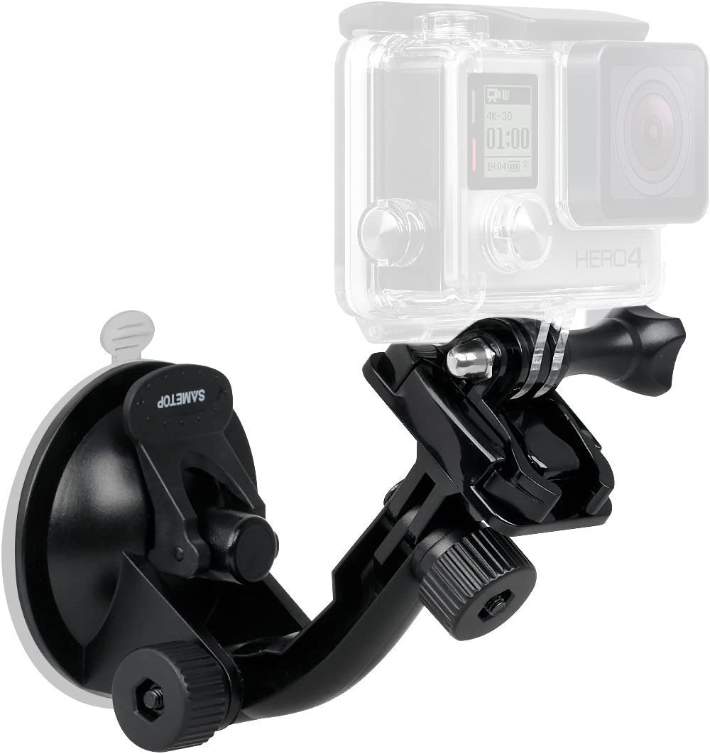 Fosheng Adjustable Angle Suction Cup Holder Action Camera Car Mount with Mobile Phone Clip for GoPro Hero 8
