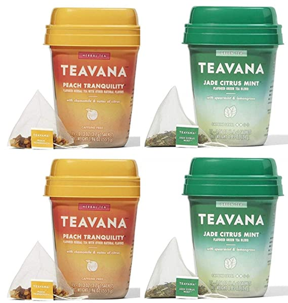 Teavana Tea Sachets Mint Majesty Jade Citrus Mint /& Peach Tranquility
