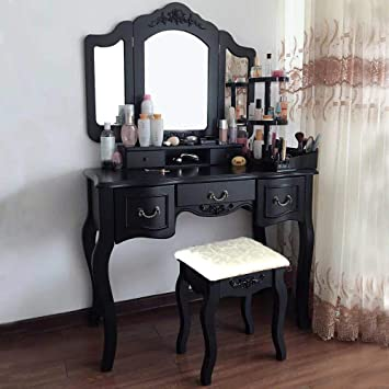 Blongang Vanity Makeup Table Set Vanities Set Tri-folding ...