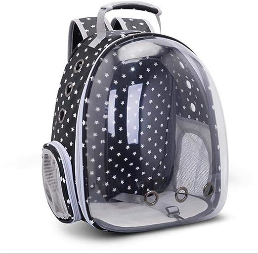 WYCYZJ Portable Pet Carrier Cat Backpack Space Capsule Travel Dog Cat Bag Transparent Cat Carriers,Little Star Black: Amazon.es: Productos para mascotas