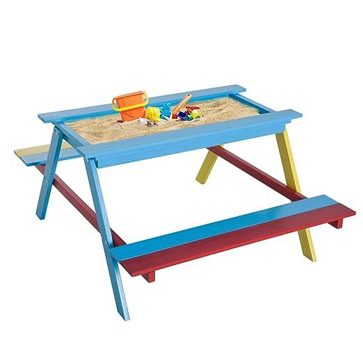 Homcom Enfants Chaise Table de Pique-Nique en Bois Banc de ...
