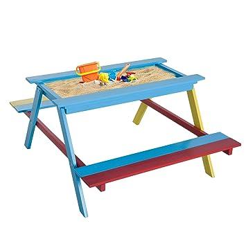 Homcom Enfants Chaise Table de Pique-Nique en Bois Banc de Jardin ...