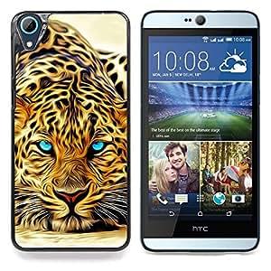 "Qstar Arte & diseño plástico duro Fundas Cover Cubre Hard Case Cover para HTC Desire 826 (Leopardo feroz Jaguar Pintura"")"