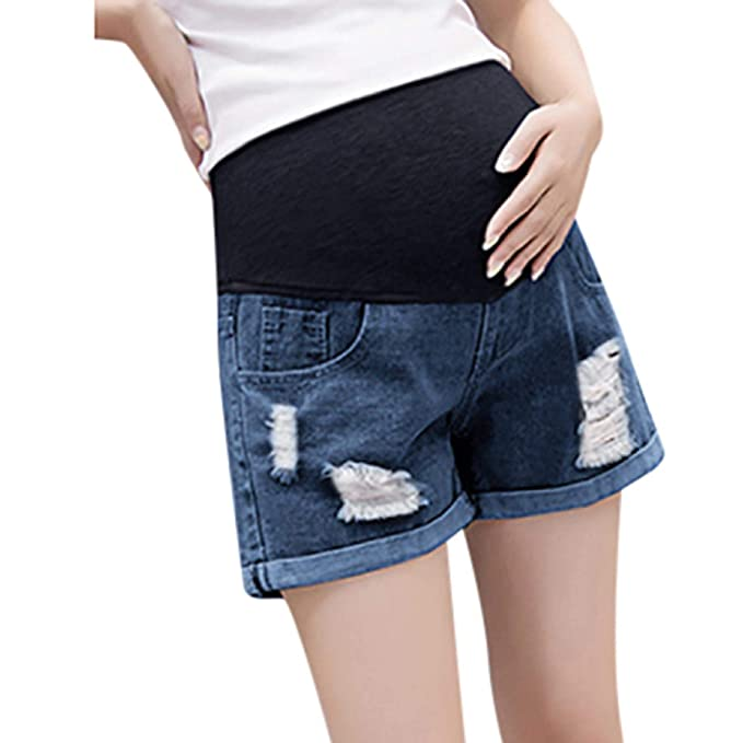 5a11405c644ac Amazon.com: LEEDFORD Summer Maternity Denim Shorts Ripped Cotton Lounge Pregnancy  Shorts Pants Over The Belly Full Panel with Pockets: Clothing