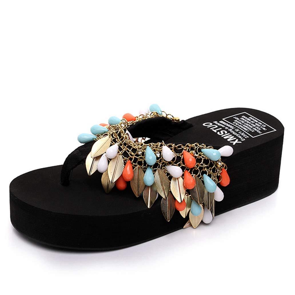 York Zhu Women Platform Flip Flops Wedge Sandals Summer Peep Toe Thong Sandals