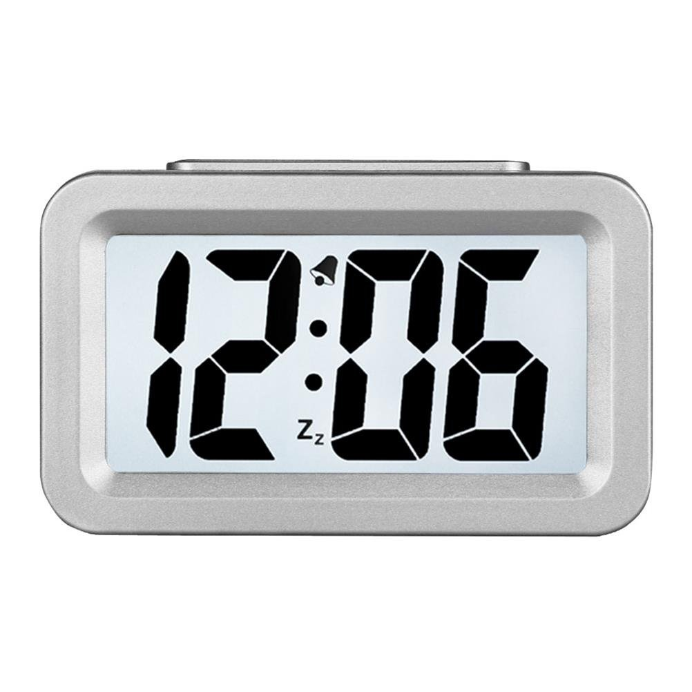 Creative Large Digital LCD Display Electronic Alarm Clock With Nightlight And Snooze Function, Travel,Office and Home Bedside Alarm Clock Silve ChengSan