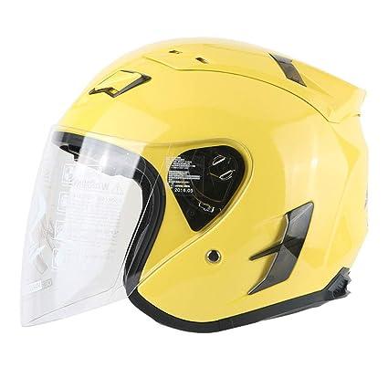 Lsrryd Casco de Fibra de Vidrio Jet Open- Cara Moto Casco de Choque Brillante Gota