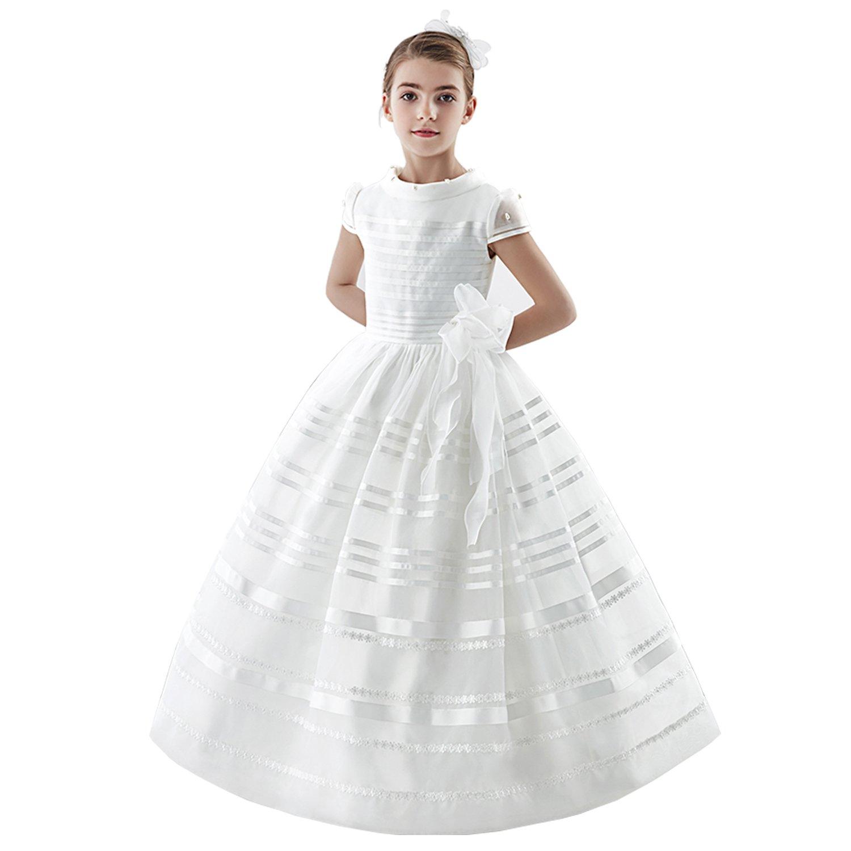 Communion Dress White Organza Ball Gown Scoop Neck Short Sleeve Floor Length