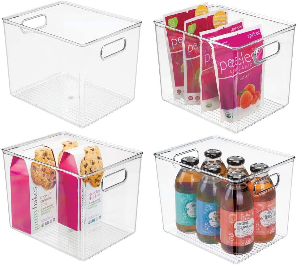 mDesign Plastic Food Storage Container Bin with Handles - for Kitchen, Pantry, Cabinet, Fridge, Freezer - Organizer for Snacks, Produce, Vegetables, Pasta - BPA Free - Medium, 4 Pack - Clear