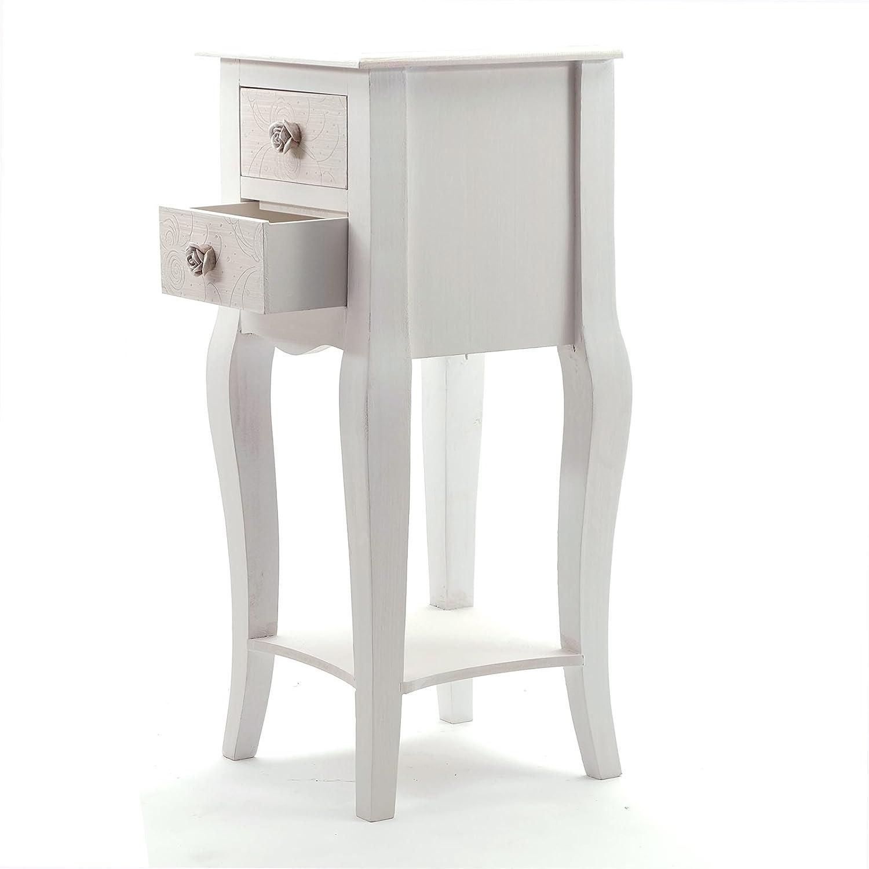 TAVOLINO DA TELEFONO SISSY | bianco antico, legno, 67 cm | con 2 cassetti, tavolo corridoio xtradefactory GmbH