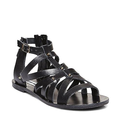 e95a5e8fec1e2 Steve Madden Womens Zeusss Strappy Flat Gladiator Sandals Black 6.5 Medium  (B