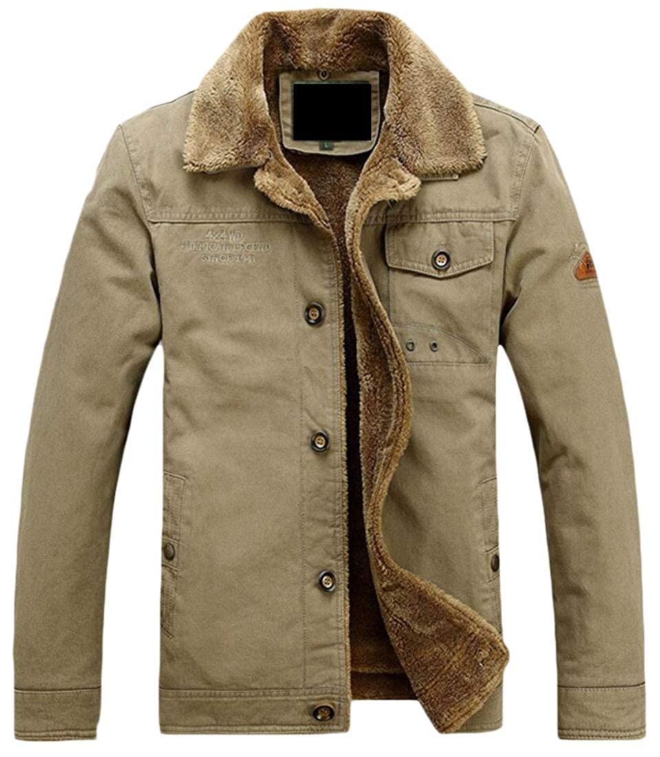 WSPLYSPJY Mens Fleece Thicken Outwear Military Single Breasted Down Jacket Coat