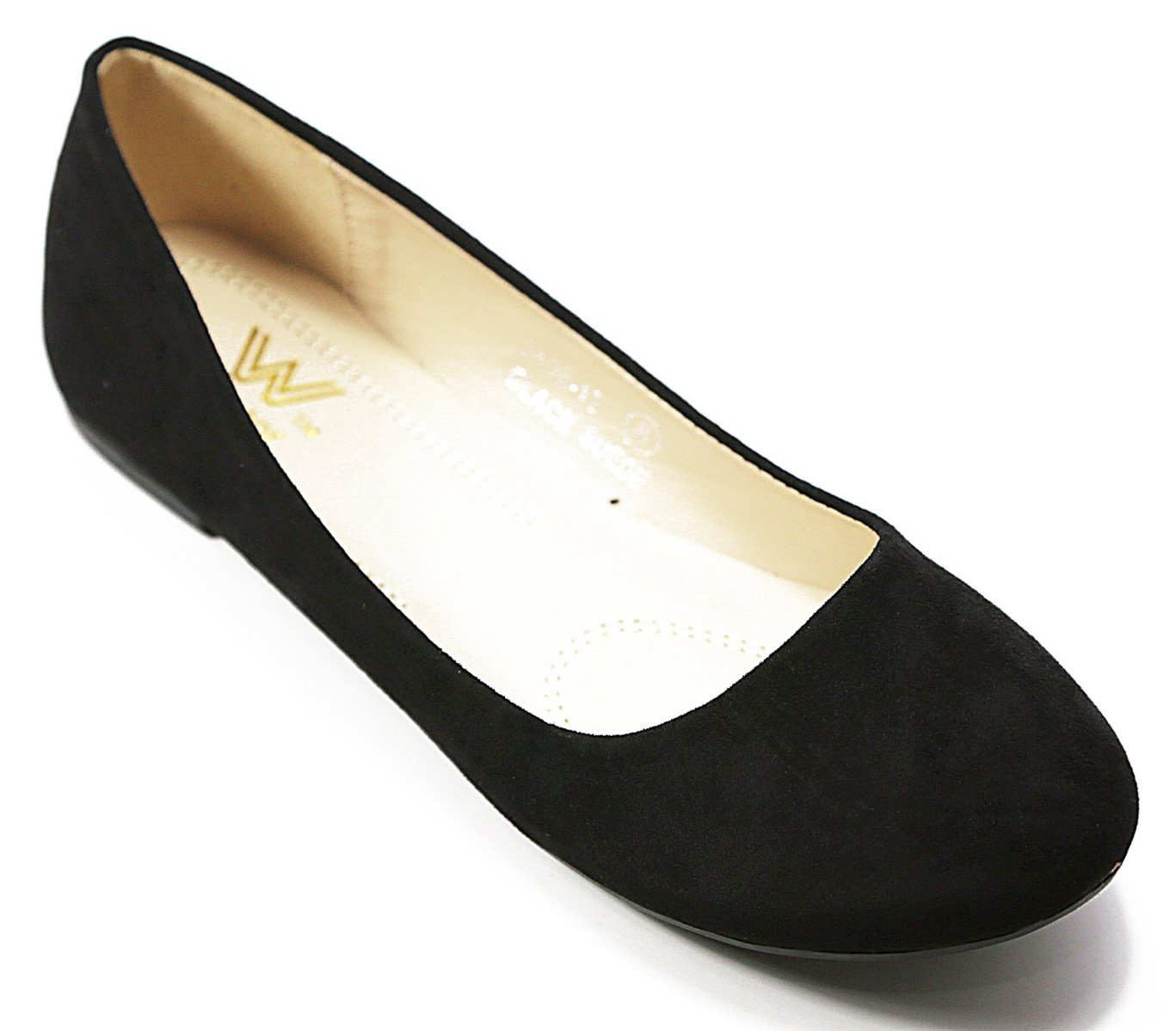 Walstar Women's Basic Round Toe Ballet Flat Shoes B015YJ7BDK 7.5 B (Run Small, Order 1/2 size UP) Black Suede