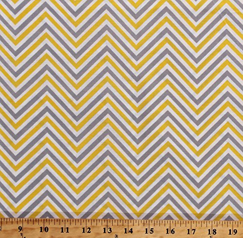 Cotton Chevron Stripes Gray Yellow White Chevron Striped Zig Zags Zigzag Cotton Fabric Print by the Yard ()