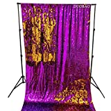 DUOBAO Sequin Backdrop 8Ft Purple to Gold Wedding Pics Backdrop Mermaid 4FTx8FT Sequin Backdrop Curtain Reversible