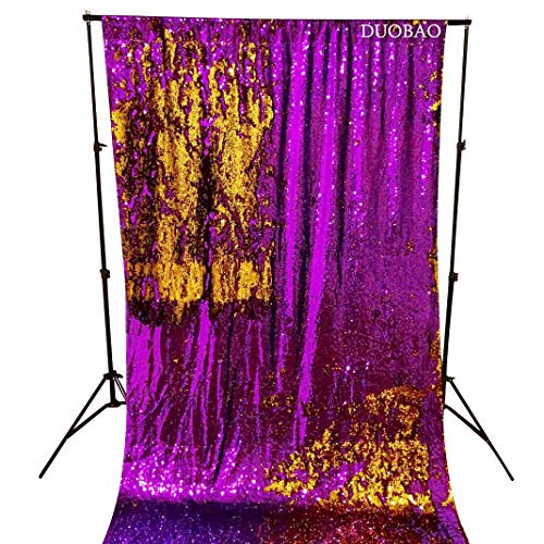 Sequin Curtains 2 Panels Purple to Gold Reversible Shimmer Backdrop Fabric 4FTx8FT Mermaid Sequin Backdrop Curtains for Wedding Party Decor by DUOBAO (Image #1)