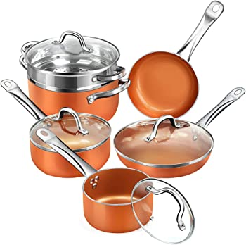 Shineuri Nonstick Ceramic Copper Cookware Set