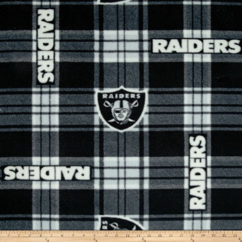 NFL Oakland Raiders Plaid Fleece Black/White Fabric By The Yard