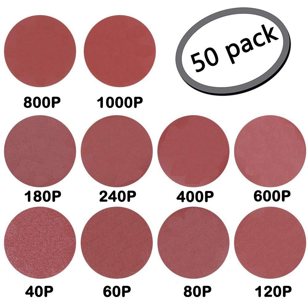 GeBot 50PCS 12-Inch NO-Hole PSA Aluminum Oxide Sanding Disc Self Stick Assorted 40/60/ 80/120/ 180/240/ 400/600/ 800/1000 Grits (12 Inch)