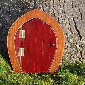 Miniature fairy garden wooden gnome door red for Wooden fairy doors to decorate