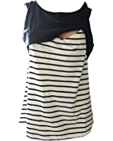 Women Double Layered Patchwork Maternity Breastfeeding and Nursing Tank Top Cami Vest