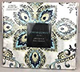 """Cynthia Rowley Easy Care Polyester Duvet Cover Set """"Linden Butter"""" Black, Yellow, Blue, Beige Stripes Floral Paisley Medallions (FULL/QUEEN)"""