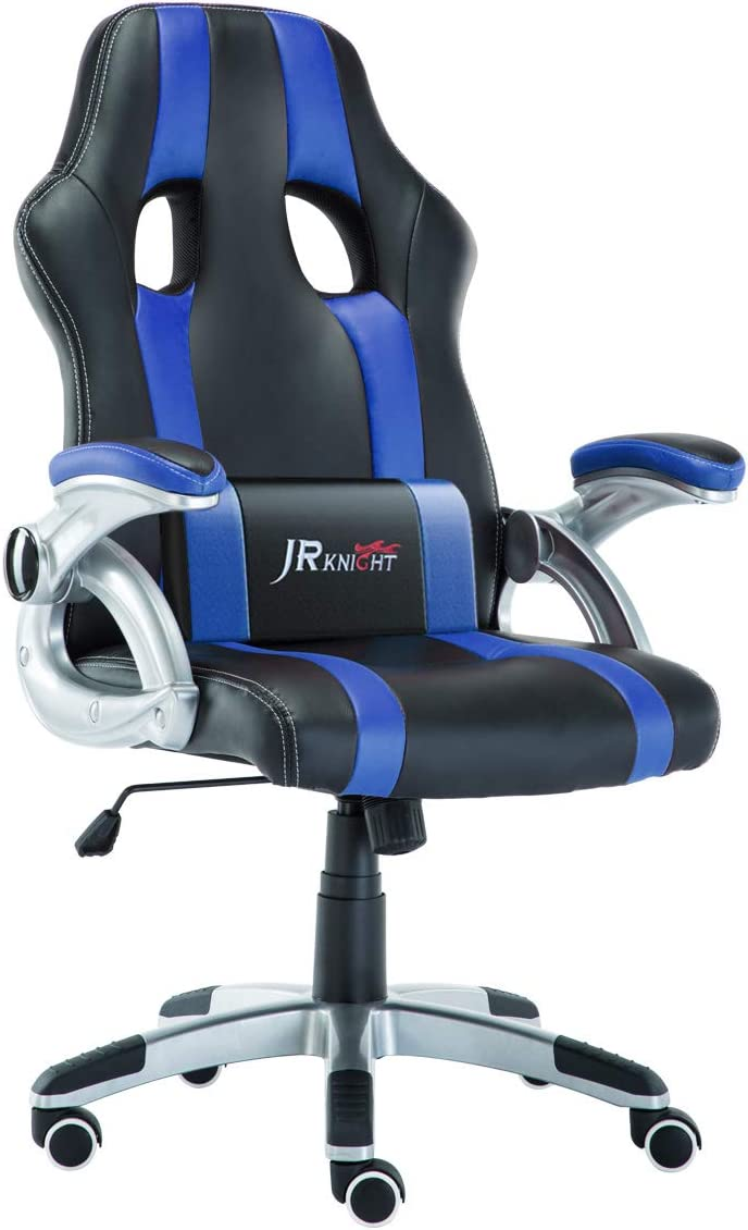 JR Knight Ergonomics Gaming Chair, Sporty Racer Chair Updated Version High Back Faux Leather Executive Desk Chair, Free Swivel Rocking Design with Adjustable Arms Match All Desks Blue