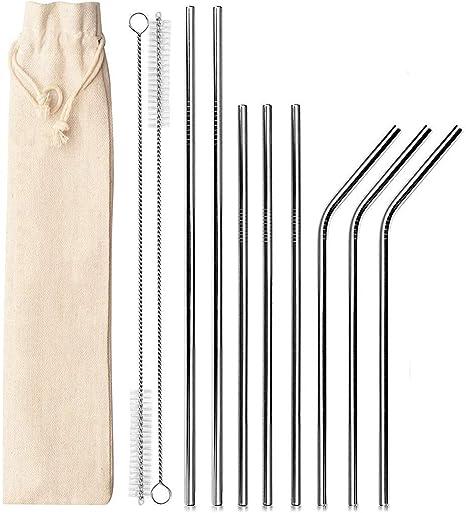 HJHY Paglietta riutilizzabile in acciaio inox, cannuccia metallica con 2 spazzole per la pulizia + 1 borsa portatile in cotone Ideale per frullati,