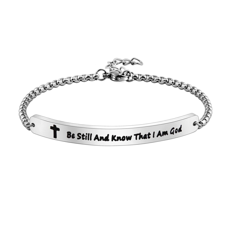 Scripture Bracelet Religious Stainless Steel ID Bracelet Christian Gift for Women KUIYAI CA-bestullIDb