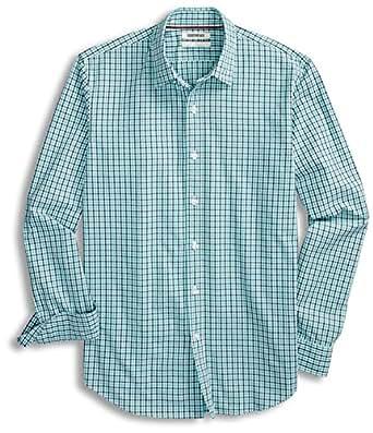 Goodthreads Men's Standard-Fit Long-Sleeve Micro-Check Gingham Shirt, Blue/Aqua, Small