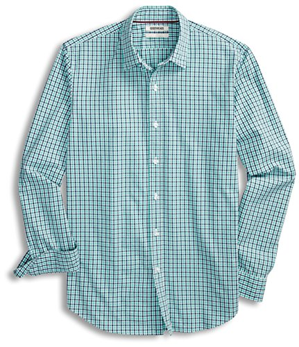 (Goodthreads Men's Standard-Fit Long-Sleeve Gingham Plaid Poplin Shirt, Blue/Aqua,)
